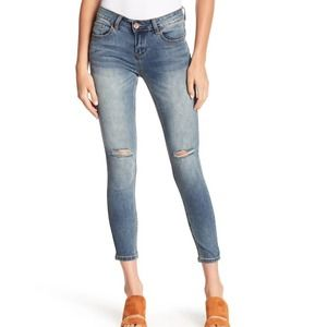 Ashley Mason Distressed Mid Rise Ankle Jeans
